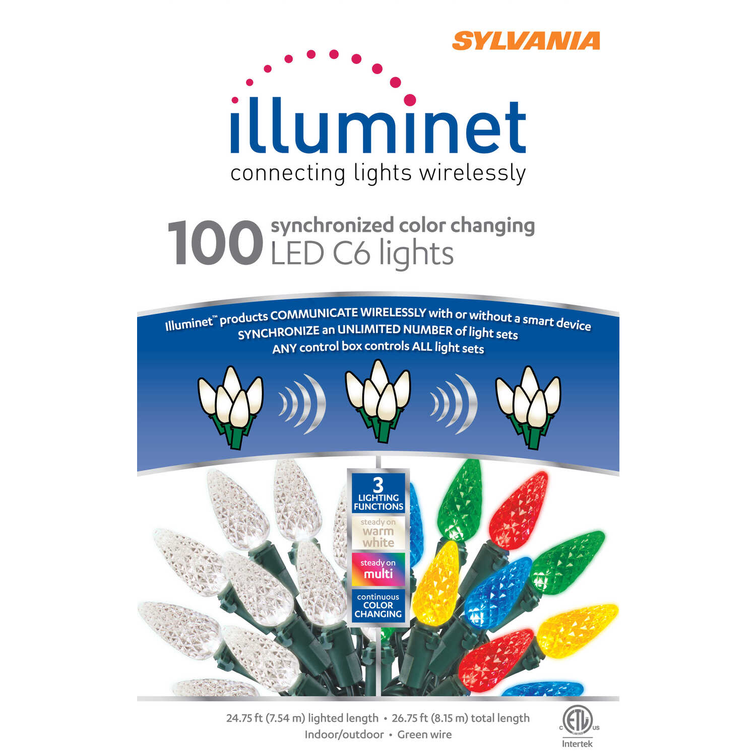 Sylvania  Illuminet  LED C6  LED  Light Set  Color Changing  24.75 ft. 100 lights