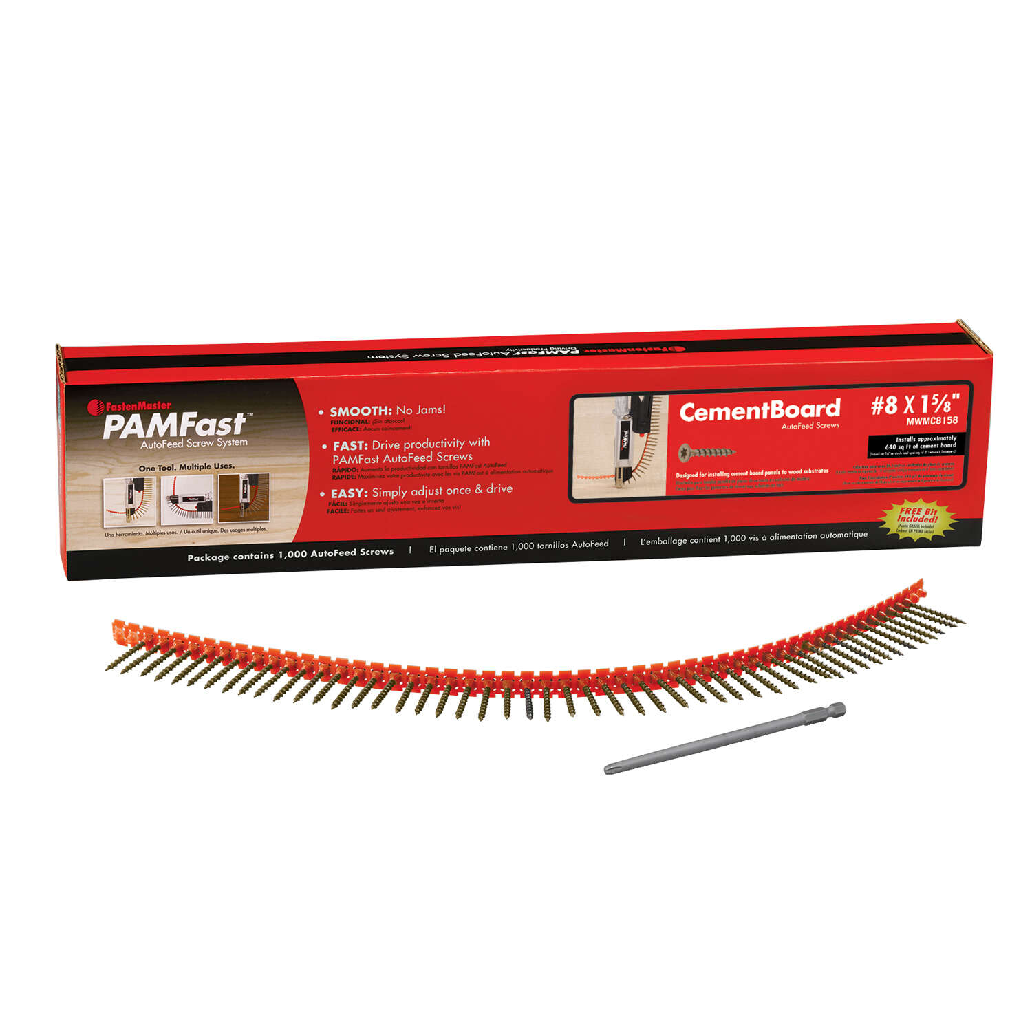 FastenMaster  PamFast  No. 8   x 1 5/8 in. L Star  Flat Head Cement Board Screws  1000 pk