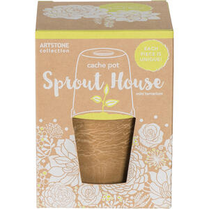 Novelty  Artstone  9.8 in. H x 5 in. Dia. Assorted  Resin/Stone Powder  Cache Pot Sprout House  Terr