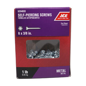 Ace  6 Sizes  x 3/8 in. L Hex/Slotted  Hex Washer Head Zinc-Plated  Zinc  Self-Piercing Screws  1 lb