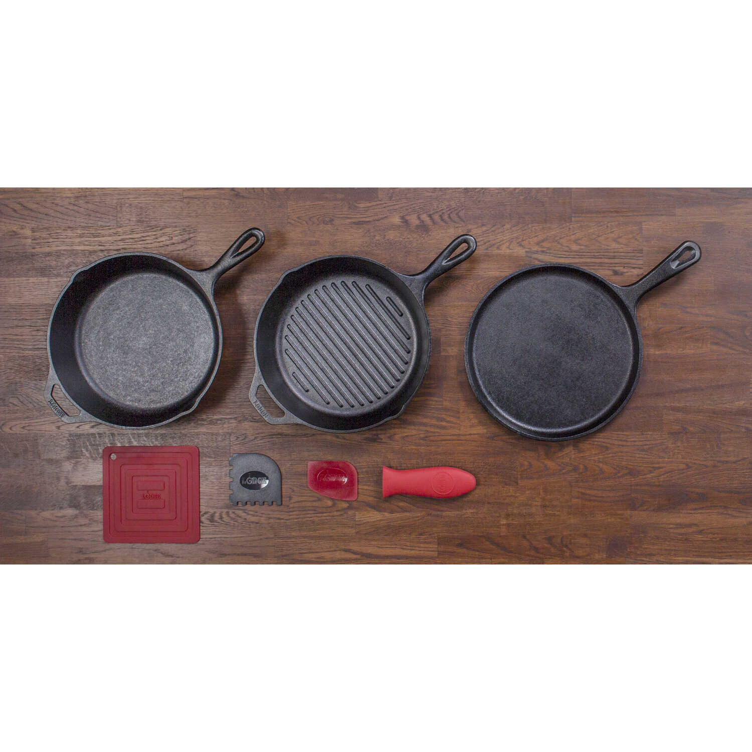 Lodge  Essential  Cast Iron  Cookware Set  Black