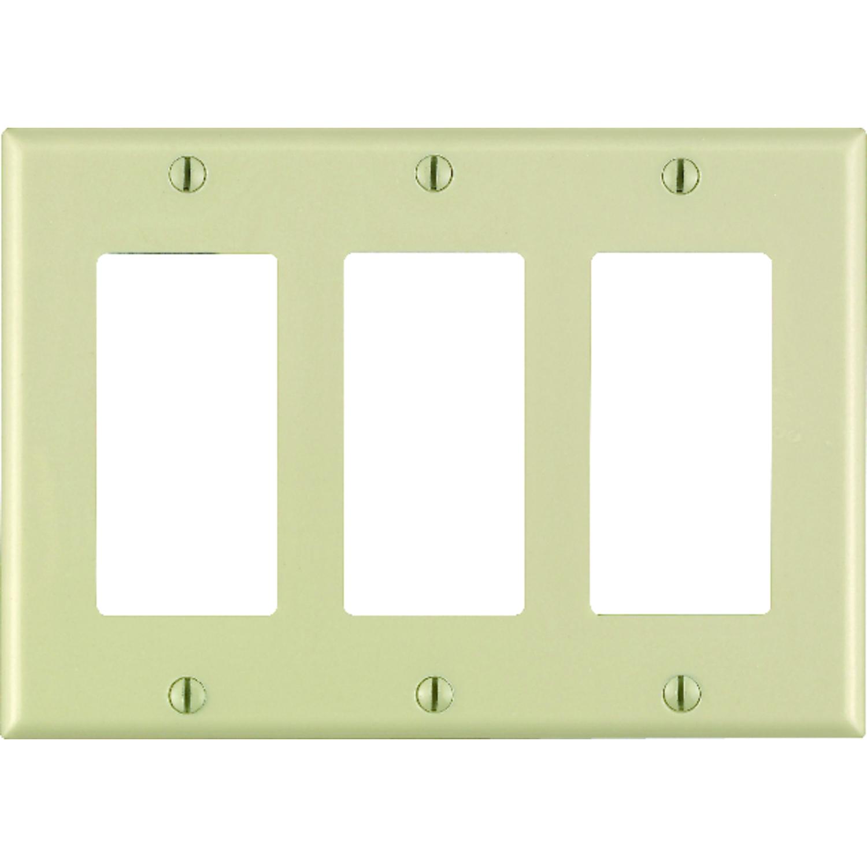 New Leviton White 3-Gang Switch Cover Decora GFCI GFI Plastic Wallplate 80421-W