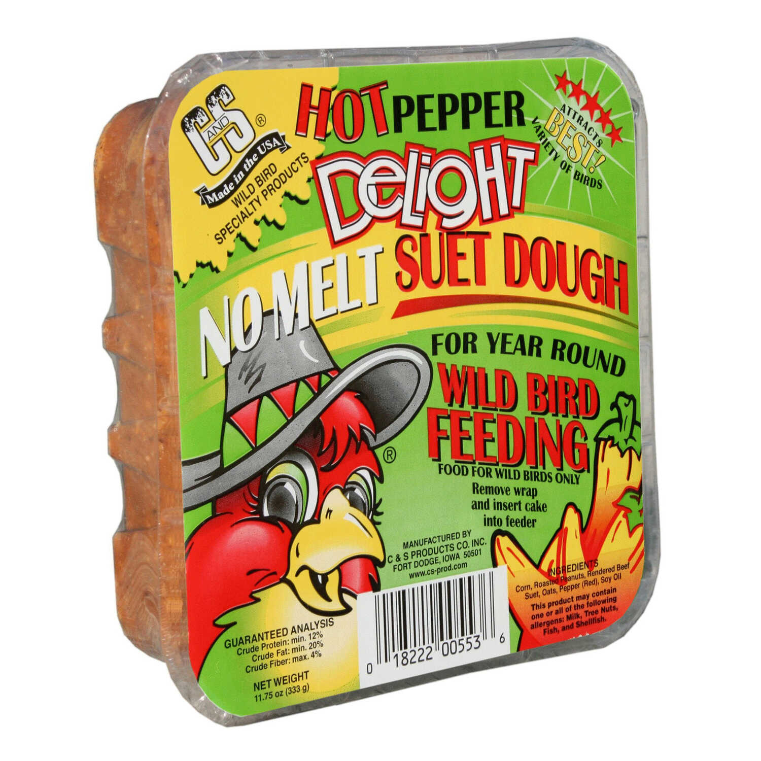 C&S Products  Hot Pepper Delight  Assorted Species  Wild Bird Food  Beef Suet  11.75 oz.