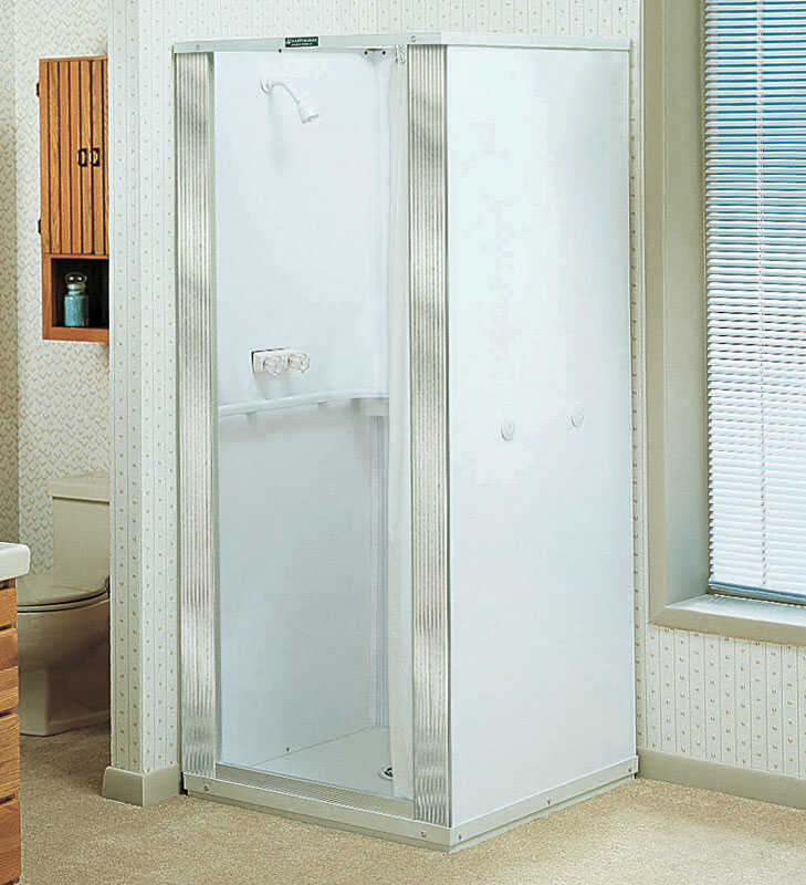 Mustee  Durastall  White  Polypropylene  Center Drain  Square  Shower Stall
