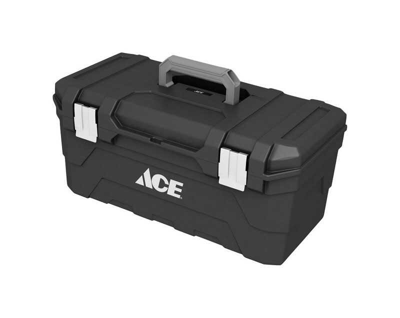 Ace  23 in. Plastic  Toolbox  9.25 in. W x 10.5 in. H Black