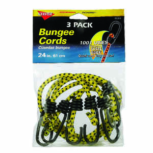 Keeper  Yellow  Bungee Cord  24 in. L x 0.315 in.  3 pk