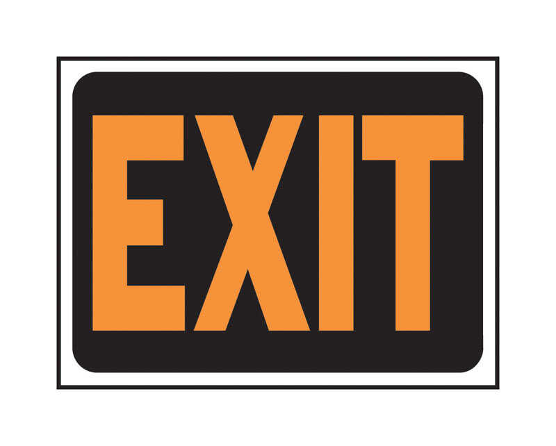 Hy-Ko  English  Exit  12 in. W x 9 in. H Plastic  Sign