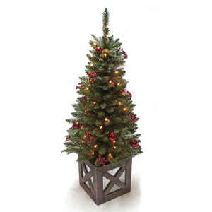 Celebrations  Marbleton Porch  Clear  Prelit 4 ft. Christmas  Porch Tree  50 lights 288 tips