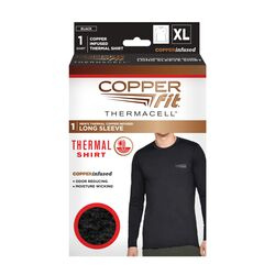 Copper Fit  XL  Long Sleeve  Men's  Round Neck  Black  Copper Infused Thermal  Shirt