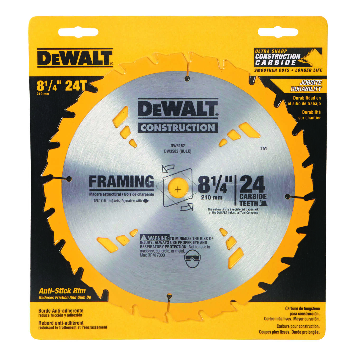 DeWalt  8-1/4 in.  Construction  Framing Blade  Carbide Tipped  24 teeth 0.05 in.  5/8 in.  1 pk