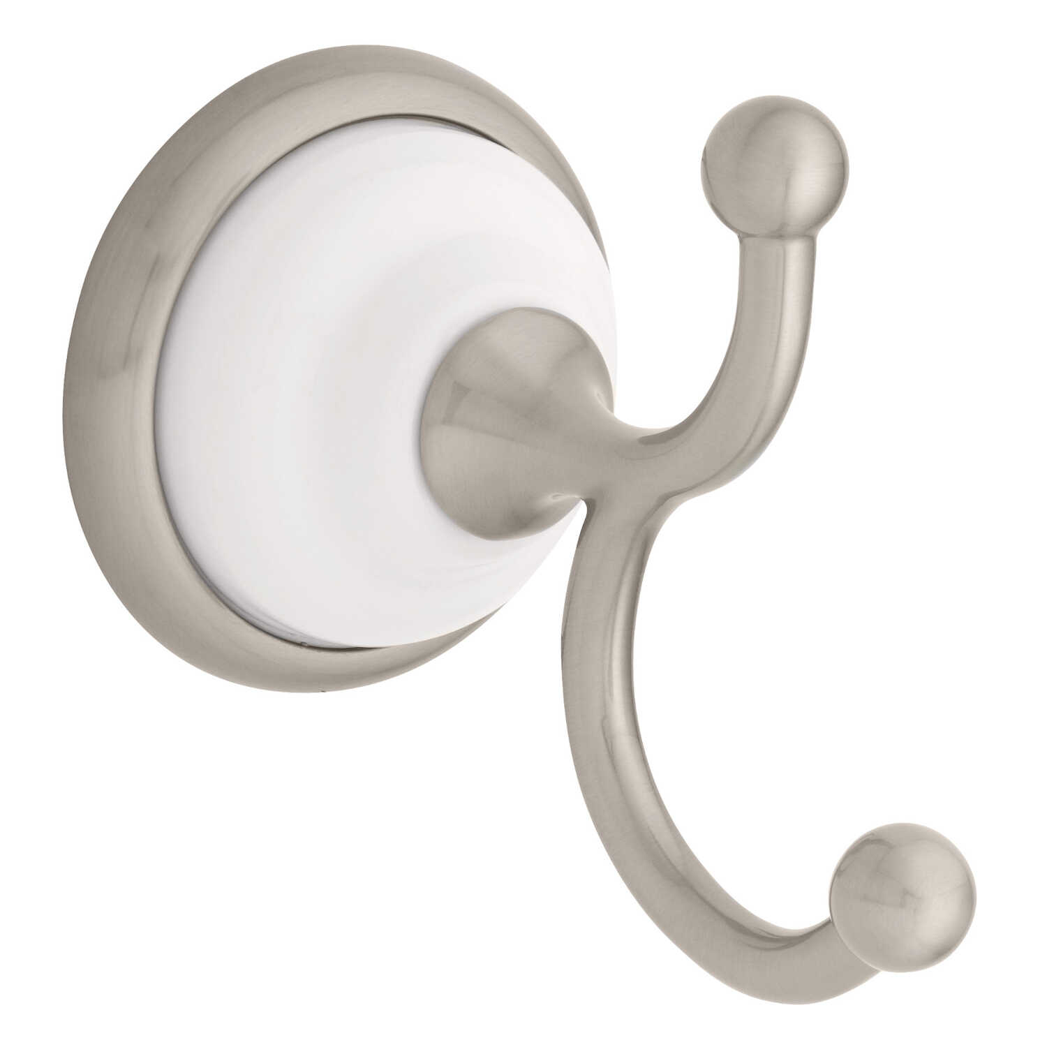 Bellini  Robe Hook  7.9 in. H x 5.1 in. W x 3.2 in. L Polished Chrome  White  Die Cast Zinc