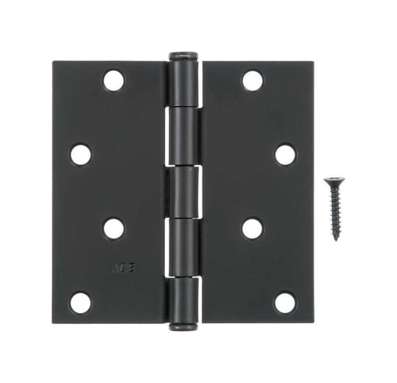 Ace  4 in. L Black  Steel  Residential Door Hinge  1 pk
