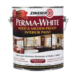 Zinsser Perma-White Semi-Gloss White Water-Based Mold and Mildew-Proof Paint Interior 1 gal.