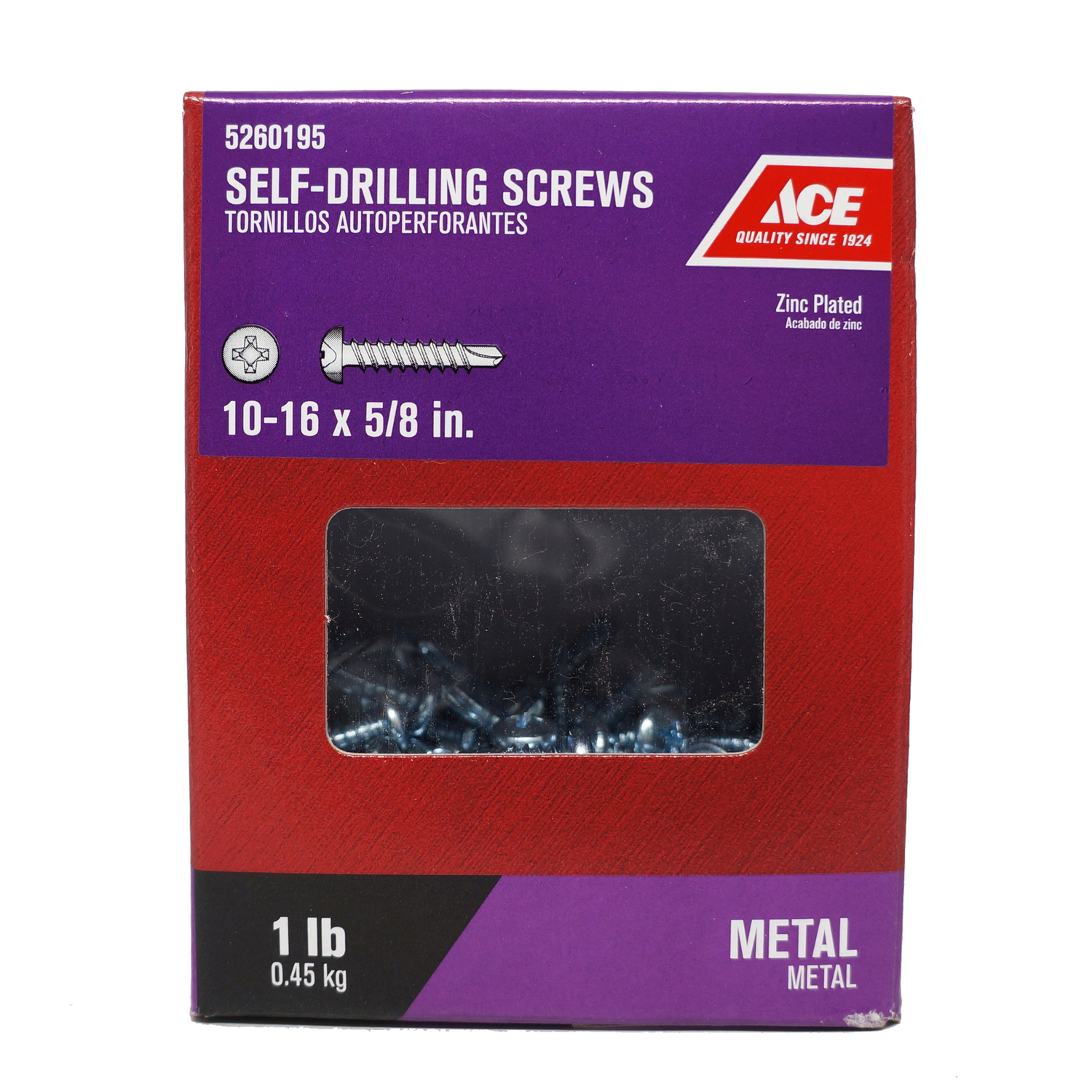 Ace  5/8 in. L x 10-16 Sizes  Phillips  Pan Head Zinc-Plated  Steel  Self- Drilling Screws  1 lb.