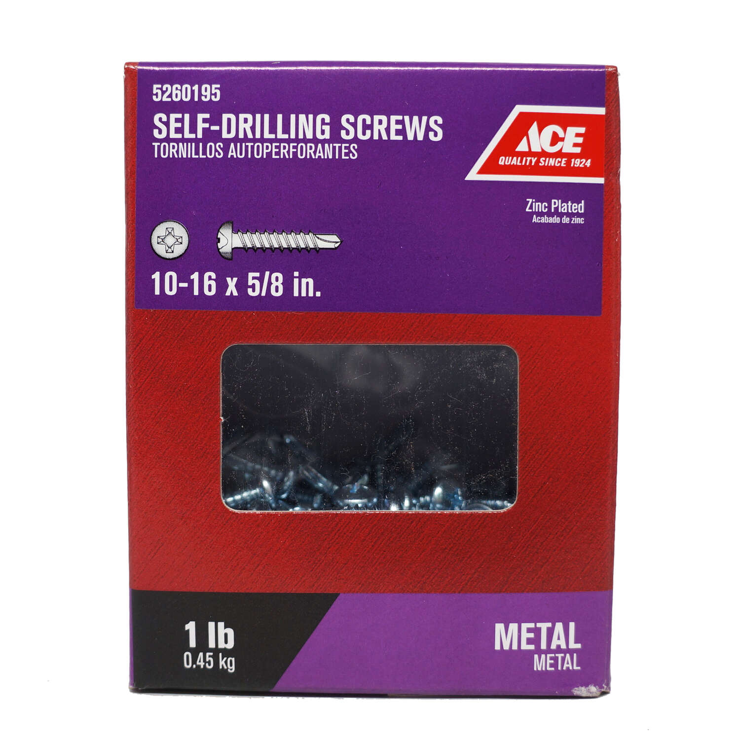 Ace  No. 10-16   x 5/8 in. L Phillips  Pan Head Zinc-Plated  Steel  Self- Drilling Screws  1 lb.