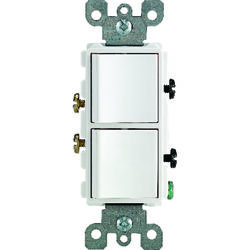 Leviton  Decora  15 amps Single Pole  Combination  AC Quiet Switch  White  1 pk
