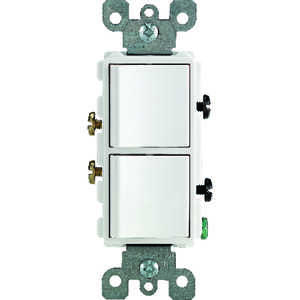 Leviton  15 amps Switch  White  1 pk Combination