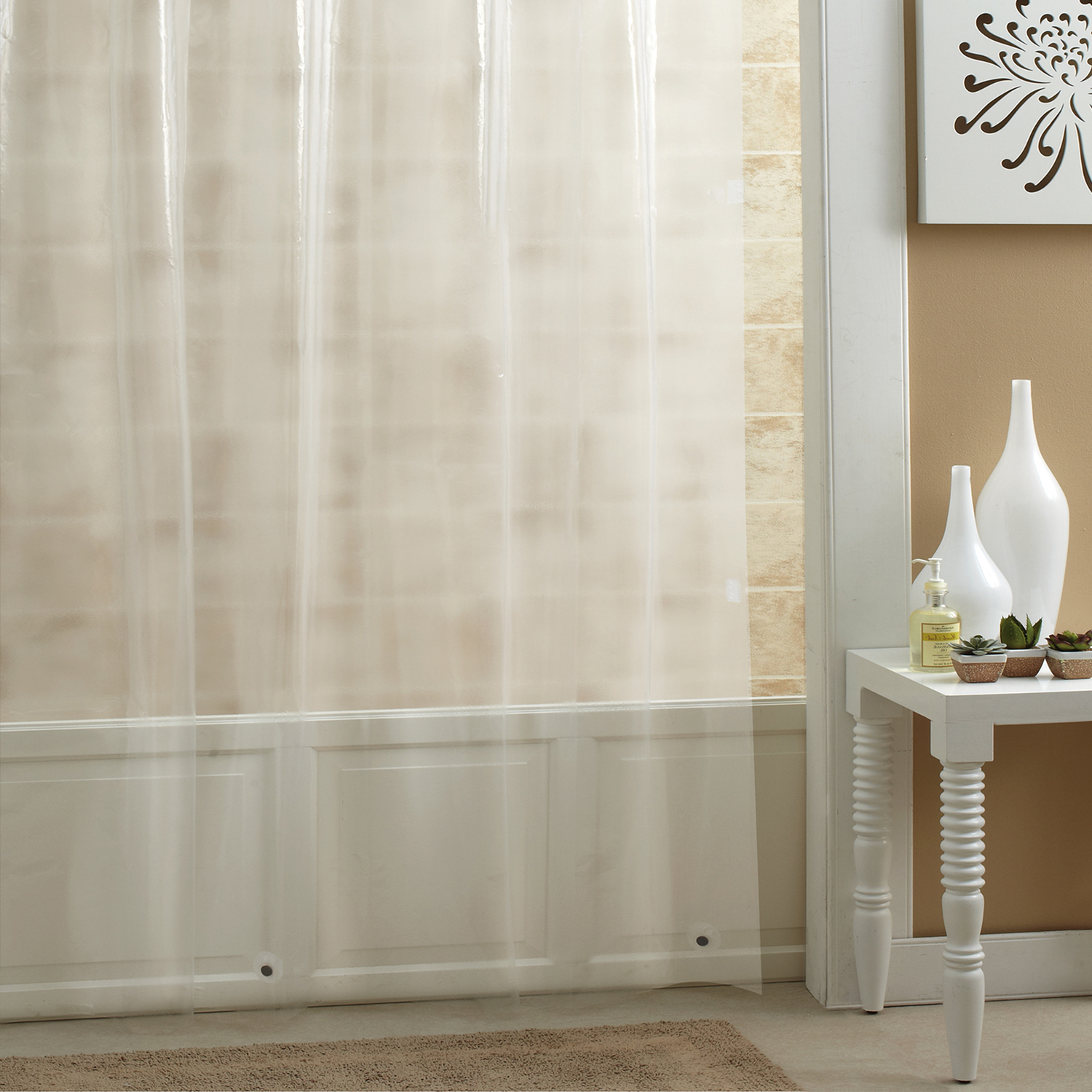 Excell  70 in. H x 72 in. W Frosted  Shower Curtain Liner  Solid
