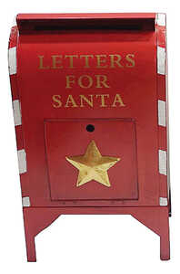 Sunset Vista  Metal  24.5 in. H Red  Christmas Letters For Santa Large Mailbox  Outdoor Garden Stake