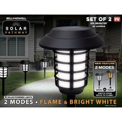 Bell + Howell Matte Black Solar Powered 90 watt LED Pathway Light 2 pk