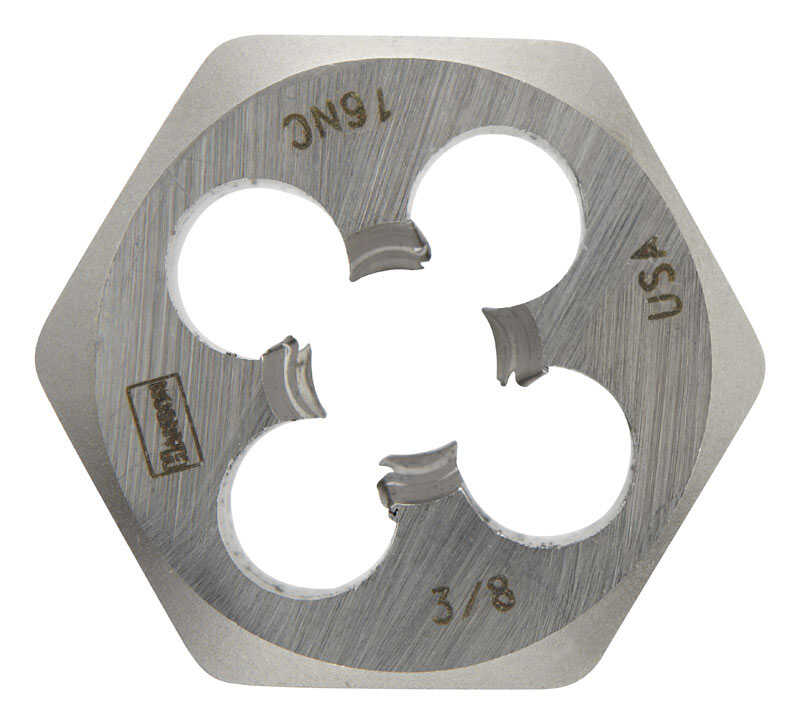 Irwin  Hanson  High Carbon Steel  SAE  Hexagon Die  3/8 in.-16NC  1 pc.