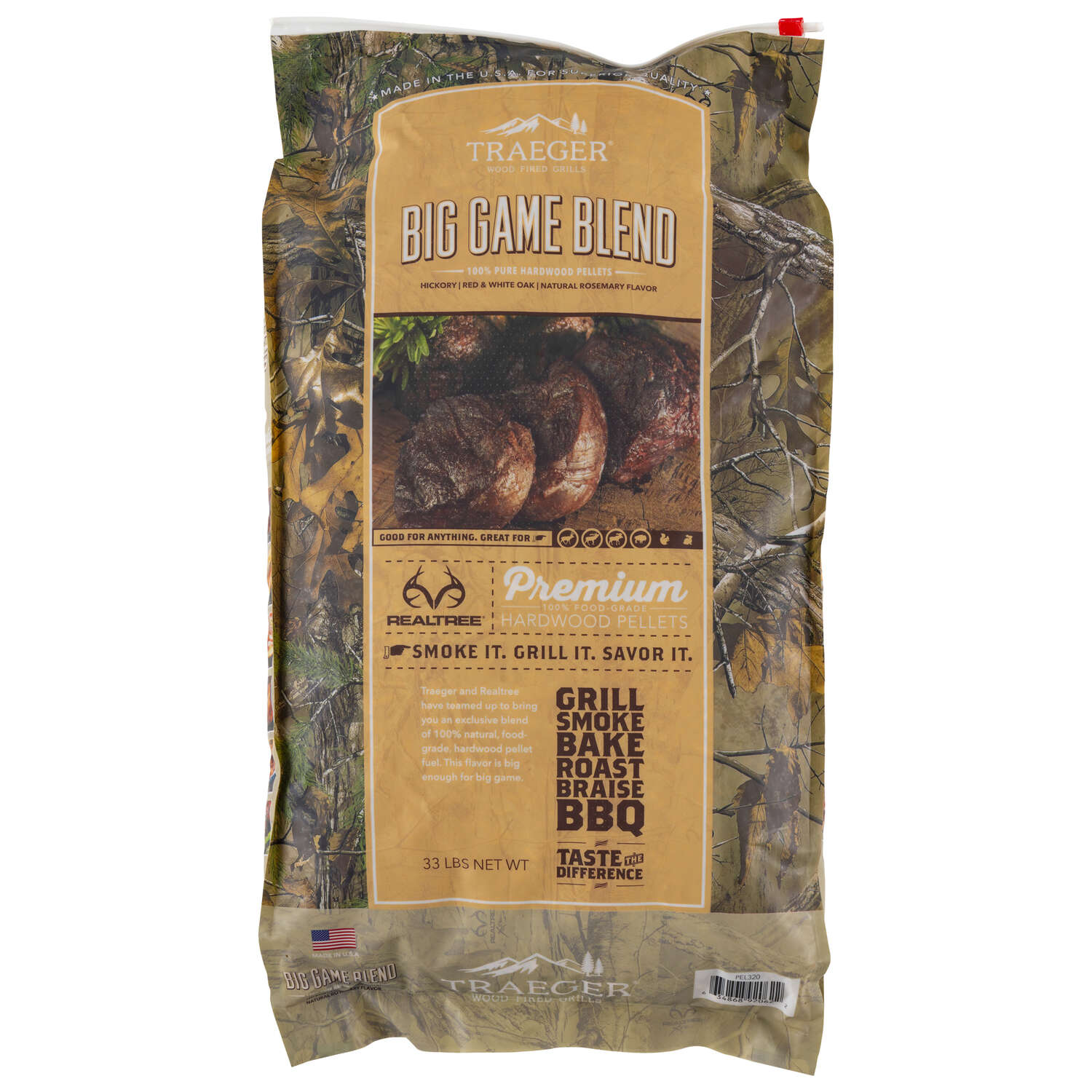 Traeger Realtree All Natural Big Game Blend Hardwood Pellets 33 lb.