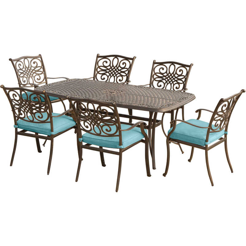 Hanover  7 pc. Bronze  Aluminum  Patio Set  Blue