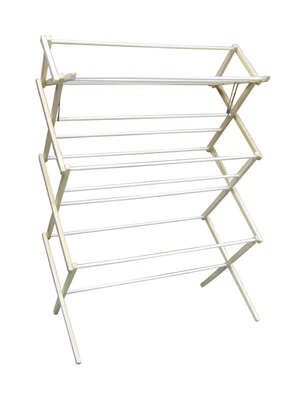 Madison Mill 51.5 in. H x 35.5 in. W x 16 in. D Wood Accordian Collapsible Clothes Drying Rack