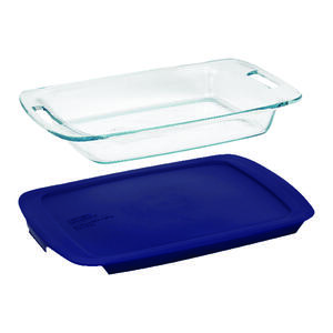 Pyrex  9.75 in. W x 15.5 in. L Baking Dish  Blue/Clear