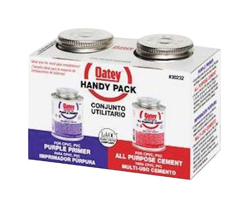 Oatey  Handy Pack  Milky Clear  Primer and Cement  For PVC 2 pk