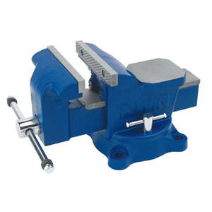 Irwin  5 in. Steel  Workshop Bench Vise  Blue  Swivel Base
