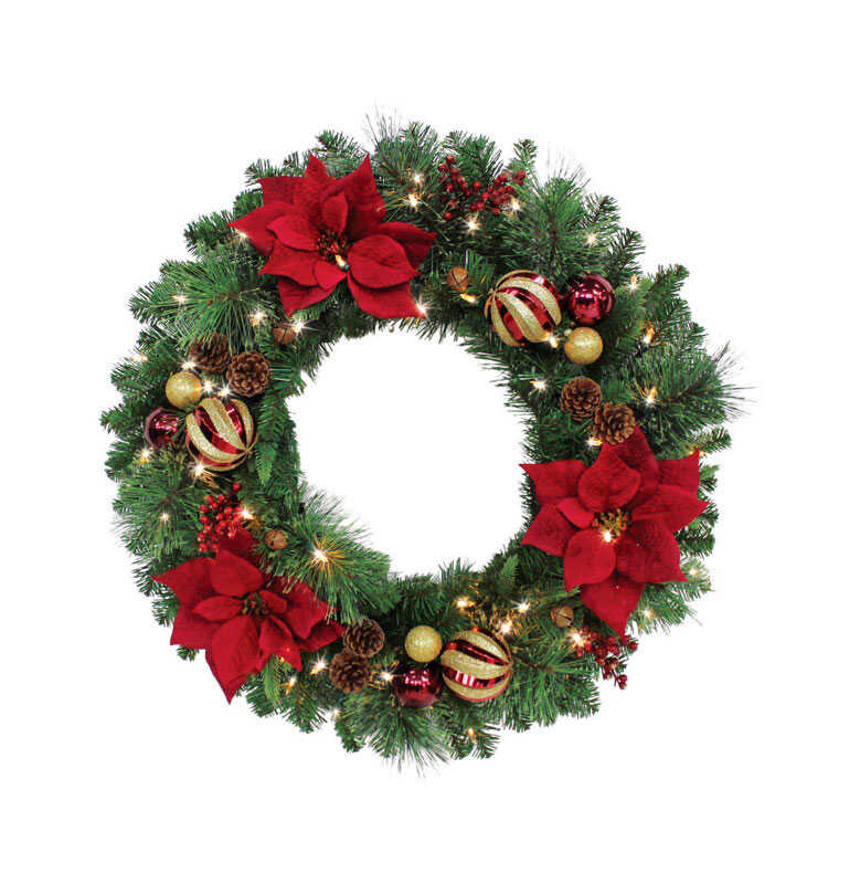 Celebrations  Royal Crimson  Prelit Green  Christmas Wreath  30 in. Dia. Warm White