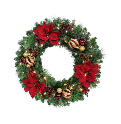 Celebrations  Royal Crimson  30 in. Dia. Prelit Christmas Wreath