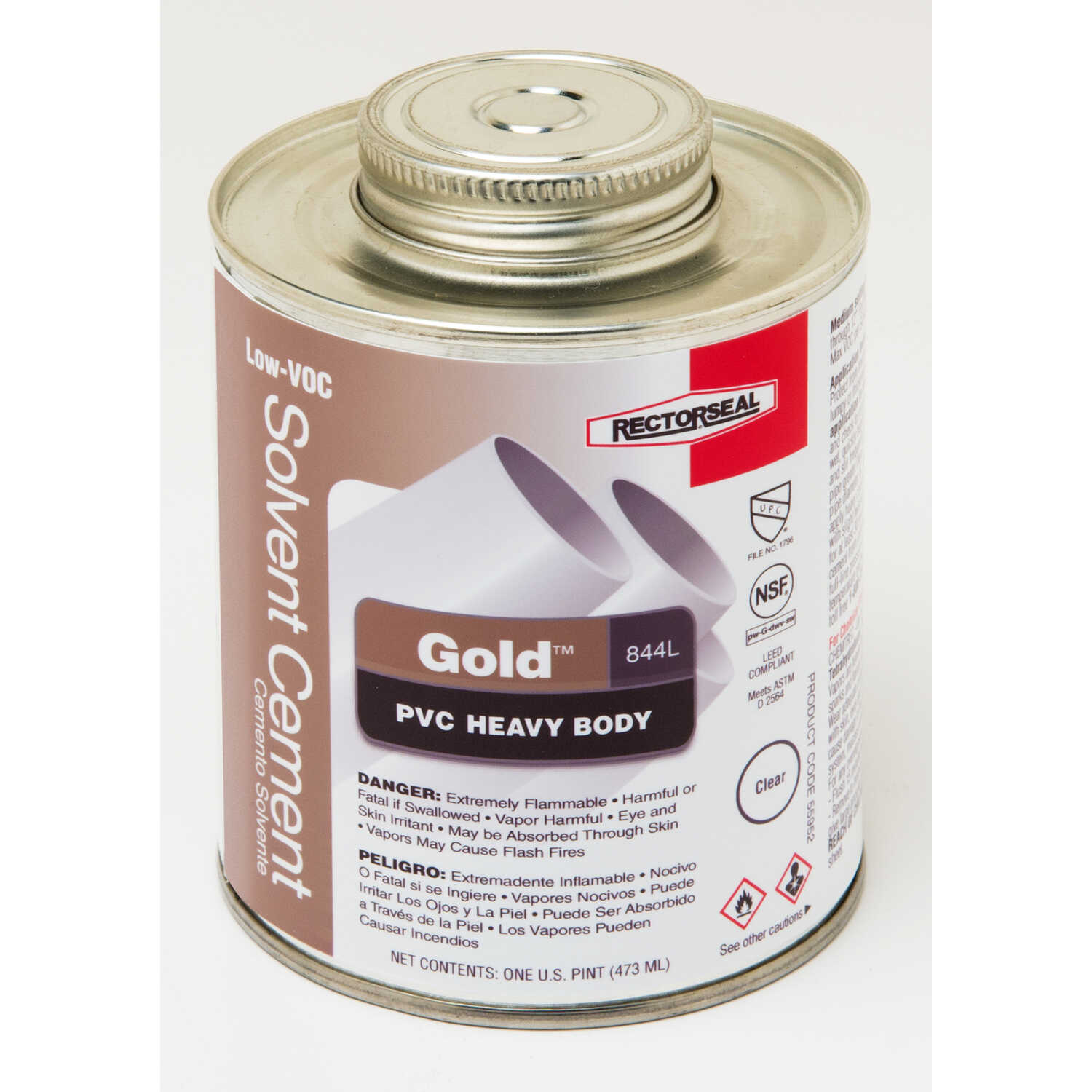 Rectorseal  Gold  Clear  Solvent Cement  For PVC 16 oz.