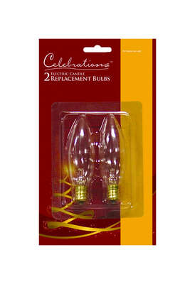 Celebrations  C7  Clear/Warm White  2 count Replacement  Christmas Light Bulbs