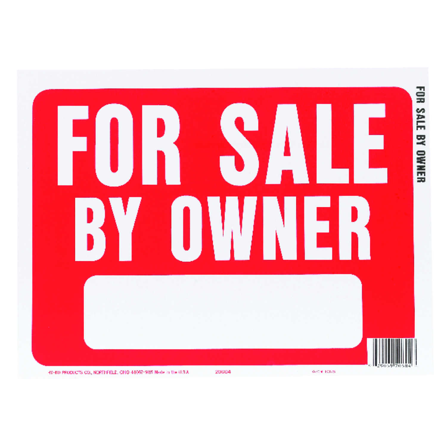 Hy-Ko  English  For Sale by Owner  Sign  Plastic  9 in. H x 12 in. W