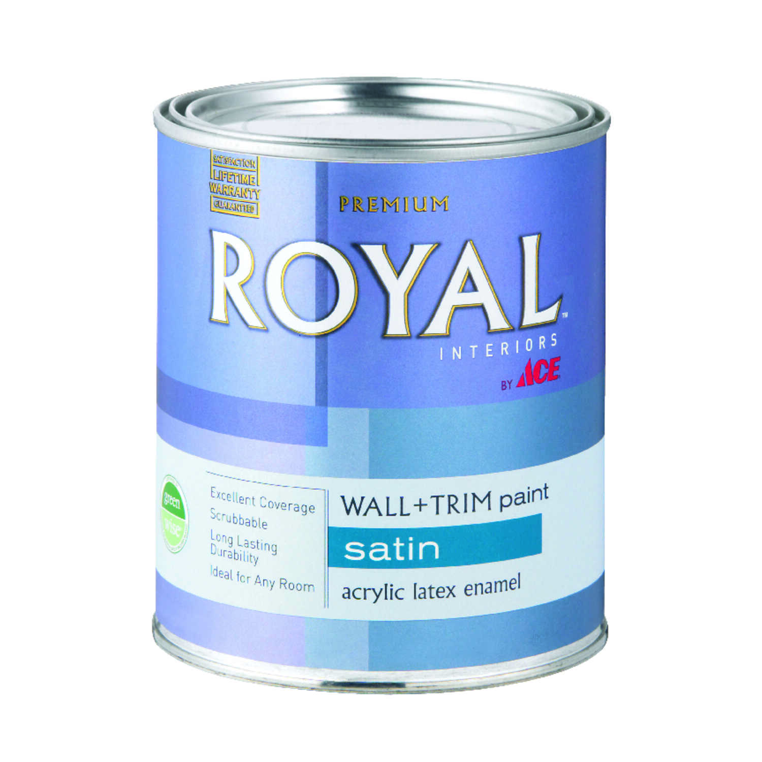 Ace  Royal  Satin  High Hiding White  Vinyl Acetate/Ethylene  Interior Latex Wall+Trim Paint  1 qt.