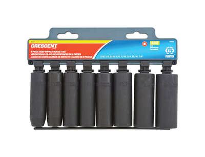 Crescent Assorted in. x 1/2 in. drive SAE 6 Point Deep Impact Socket Set 8 pc.