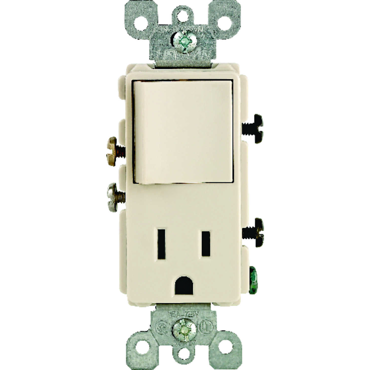 Leviton  Decora  120 volt Light Almond  Combination Outlet  5-15R  1 pk