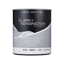 Clark+Kensington Semi-Gloss White Premium Cabinet, Door & Trim Paint Interior 1 qt.