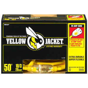 Coleman Cable  Yellow Jacket  Outdoor  50 ft. L Yellow  Extension Cord  10/3 SJTW