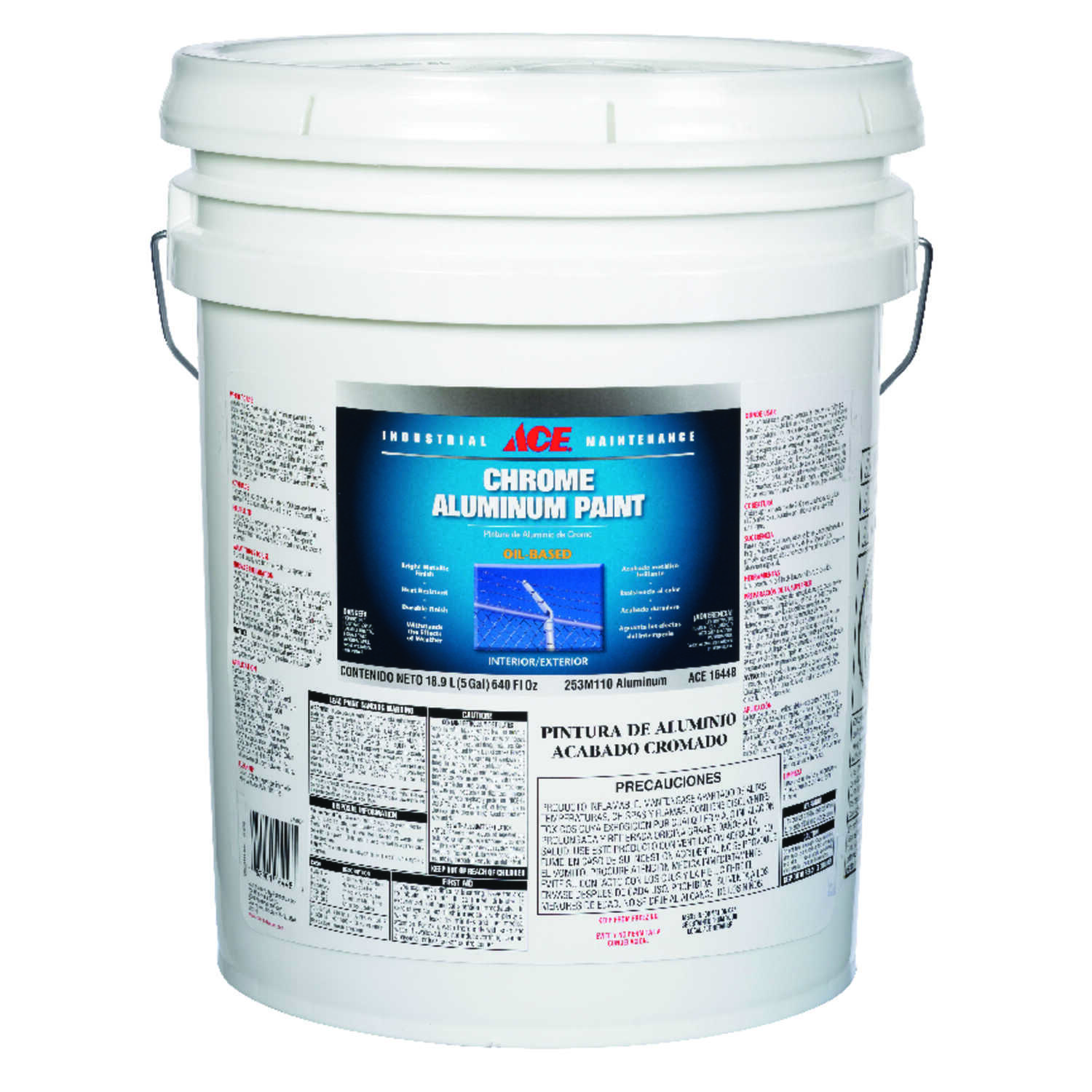 Ace  Oil Based  Chrome Aluminum Paint  640 oz. Metallic  Gloss  Metallic Chrome Aluminum