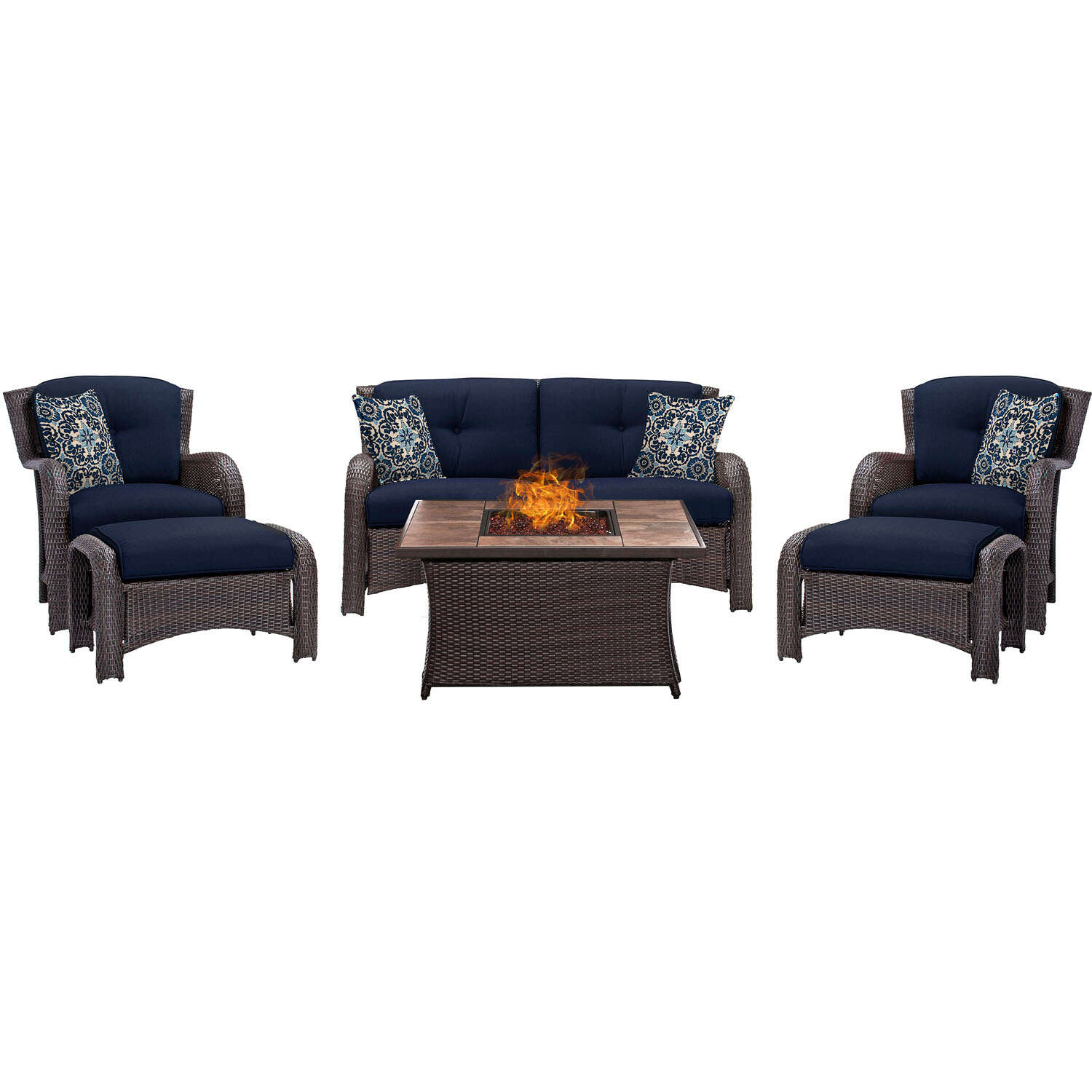 Hanover  Strathmere  6 pc. Espresso  Steel  Firepit Seating Set  Navy Blue