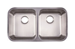 Kindred  Stainless Steel  Undermount  32-1/2 in. W x 18-1/2 in. L Two Bowls  Kitchen Sink
