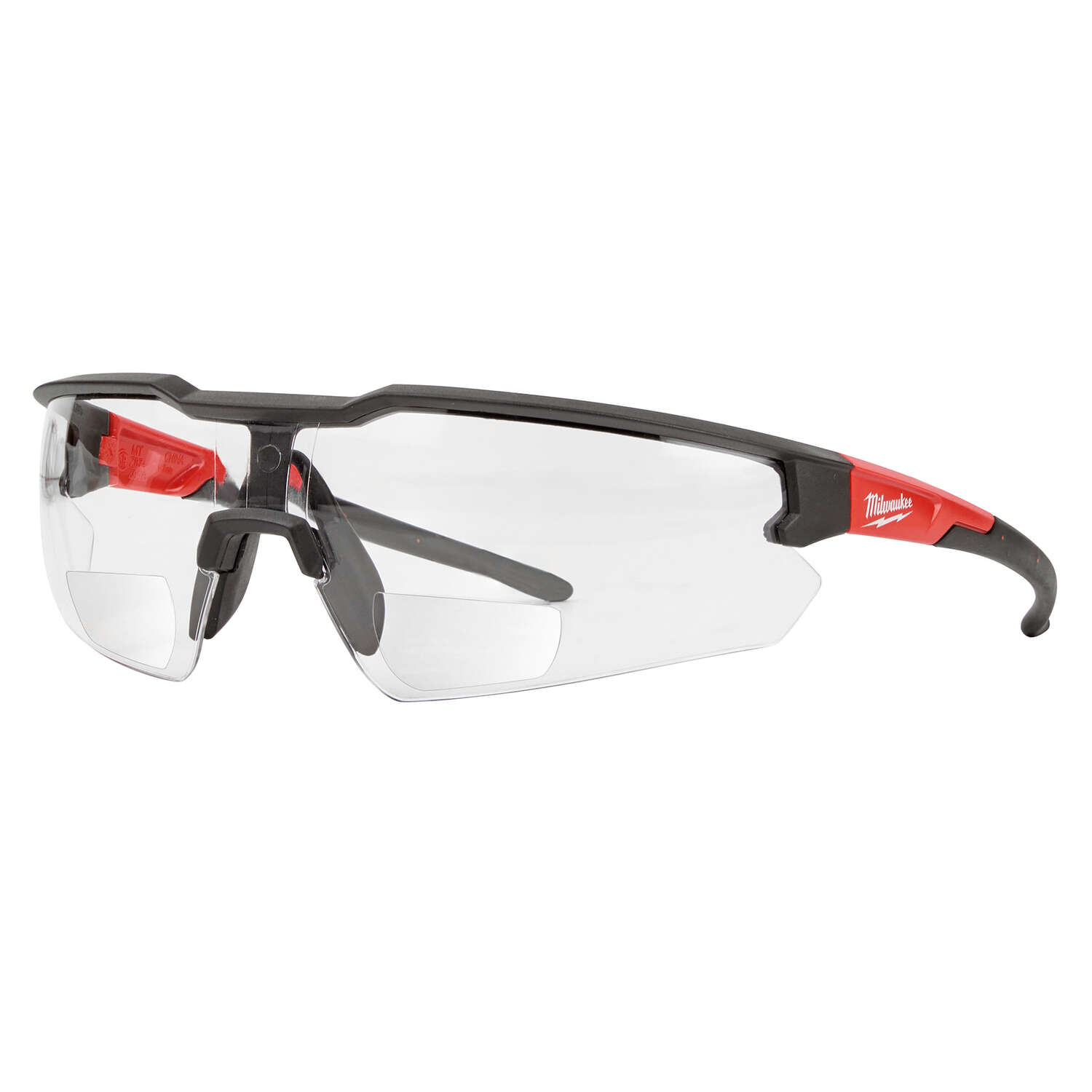 Milwaukee  Anti-Scratch  Magnified Safety Glasses  Clear Lens Black/Red Frame
