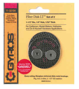 Gyros Tools  Fiber Disk Low Tensile  1-1/2 in. Dia. x 1/8 in.  Fiberglass  Cutting Disc  2 pc.