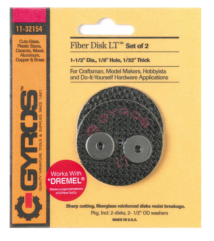 Gyros Tools  Fiber Disk Low Tensile  1-1/2 in. Fiberglass  Cutting Disc  1/32 in. thick  x 1/8 in.
