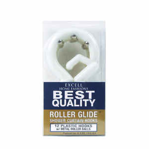 Excell  White  White  Plastic  Roller Glide  Shower Curtain Rings  12 pk