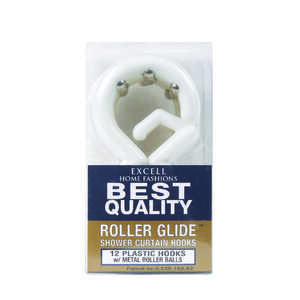Excell  White  Plastic  Roller Glide  Shower Curtain Rings  12 pk White