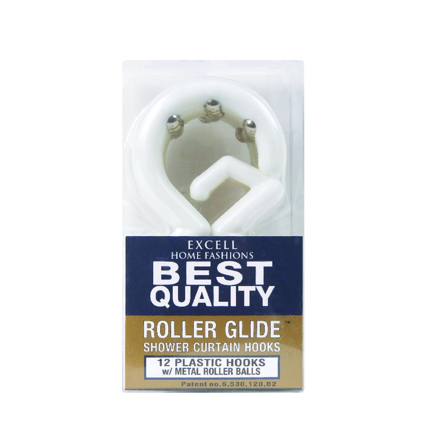 Excell White White Plastic Roller Glide Shower Curtain Rings
